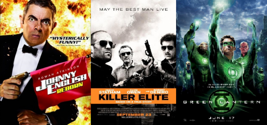 Johnny English: Reborn, Killer Elite and Green Lantern