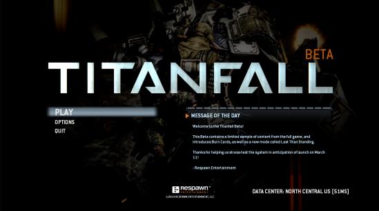 Titanfall main menu